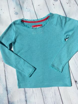 Mini Boden turquoise pointelle long sleeved top age 6-7